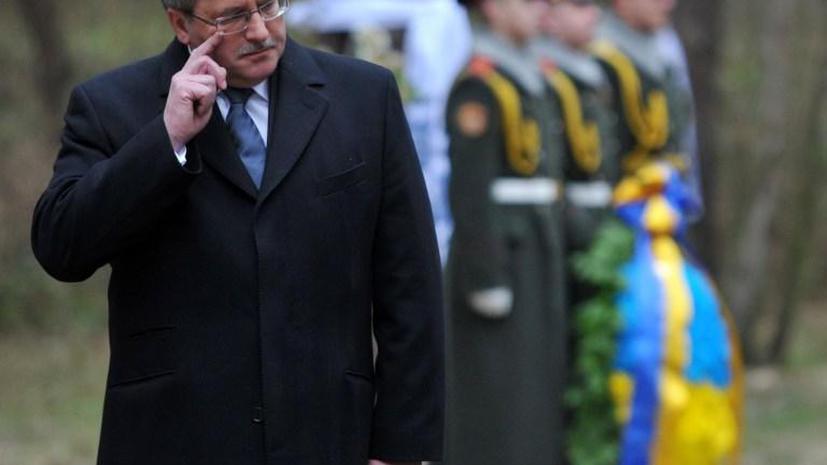Президента Польши Бронислава Коморовского атаковали сырыми яйцами на Украине