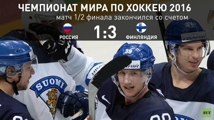 Сборная России не смогла выйти в финал ЧМ по хоккею, проиграв команде Финляндии