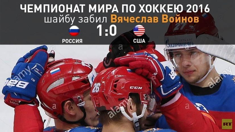 Вячеслав Войнов забил первую шайбу в ворота сборной США на матче ЧМ по хоккею