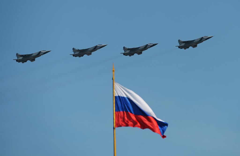 Истребители-перехватчики МиГ-31 БМ во время воздушной части военного парада в Москве в честь 71-й годовщины Победы в Великой Отечественной войне 1941-1945 годов.