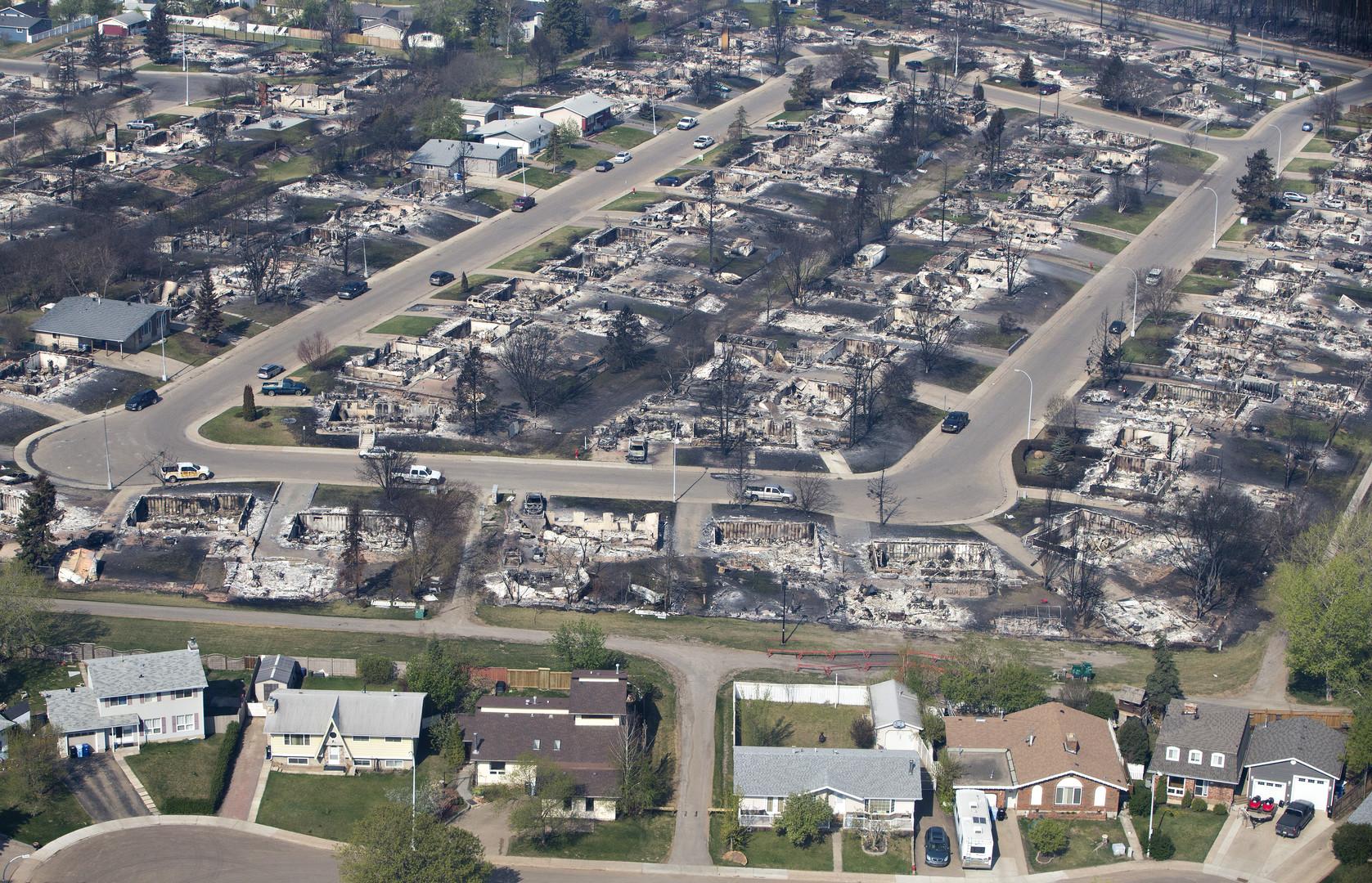 Разрушенный пожаром Форт-МакМюррей