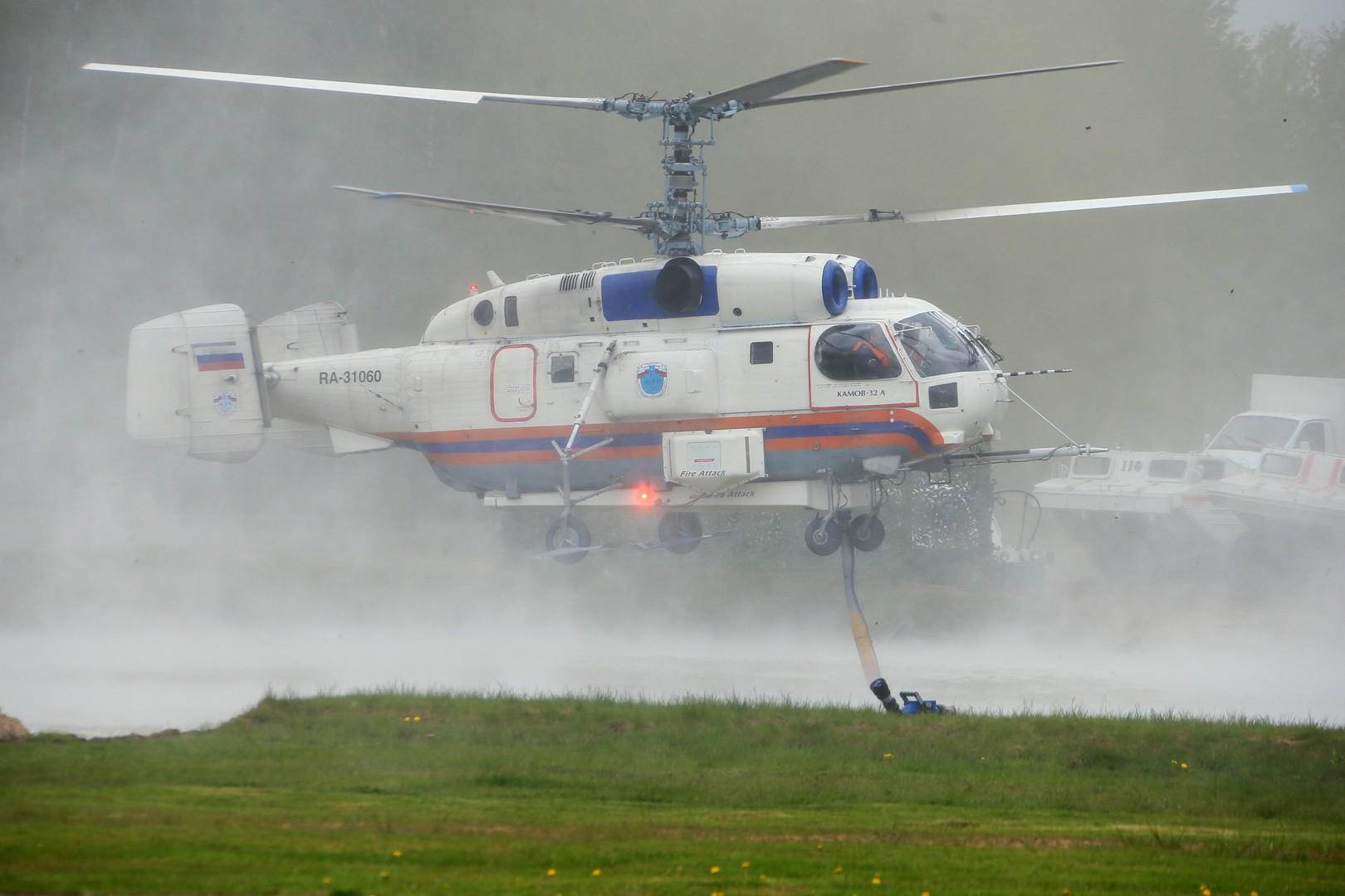 Вертолет Ка-32А11ВС на демонстрационных учениях в рамках открытия Международного салона  «Комплексная безопасность-2016» в Ногинске.