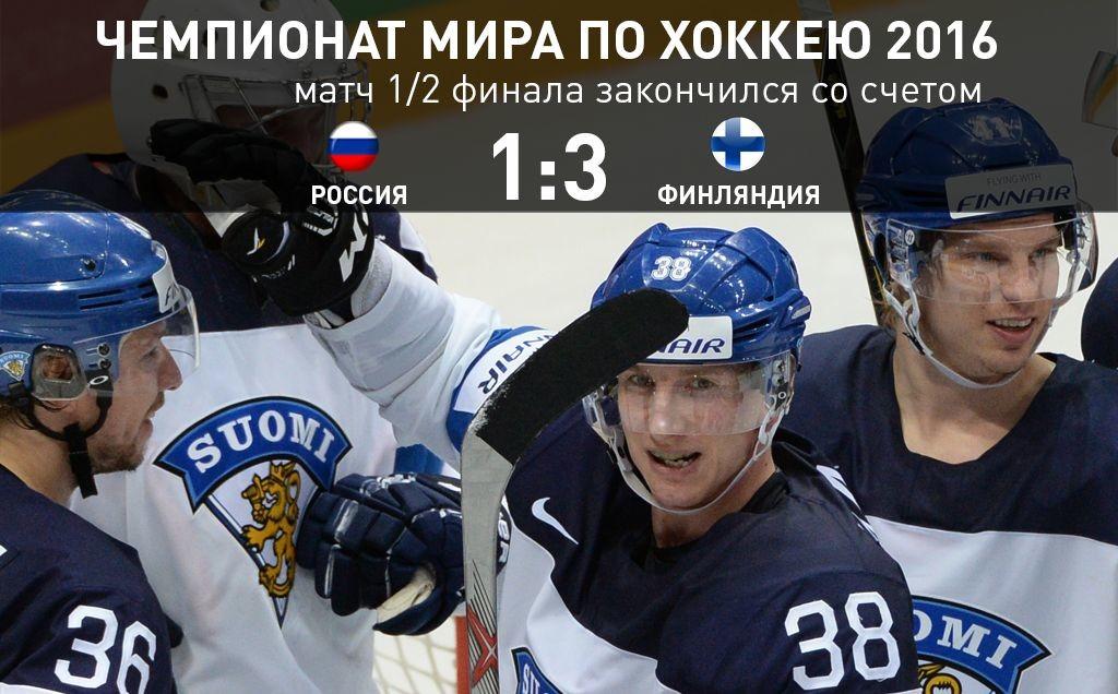 Финляндия обыграла Россию со счётом 3:1 в полуфинале чемпионата мира по хоккею