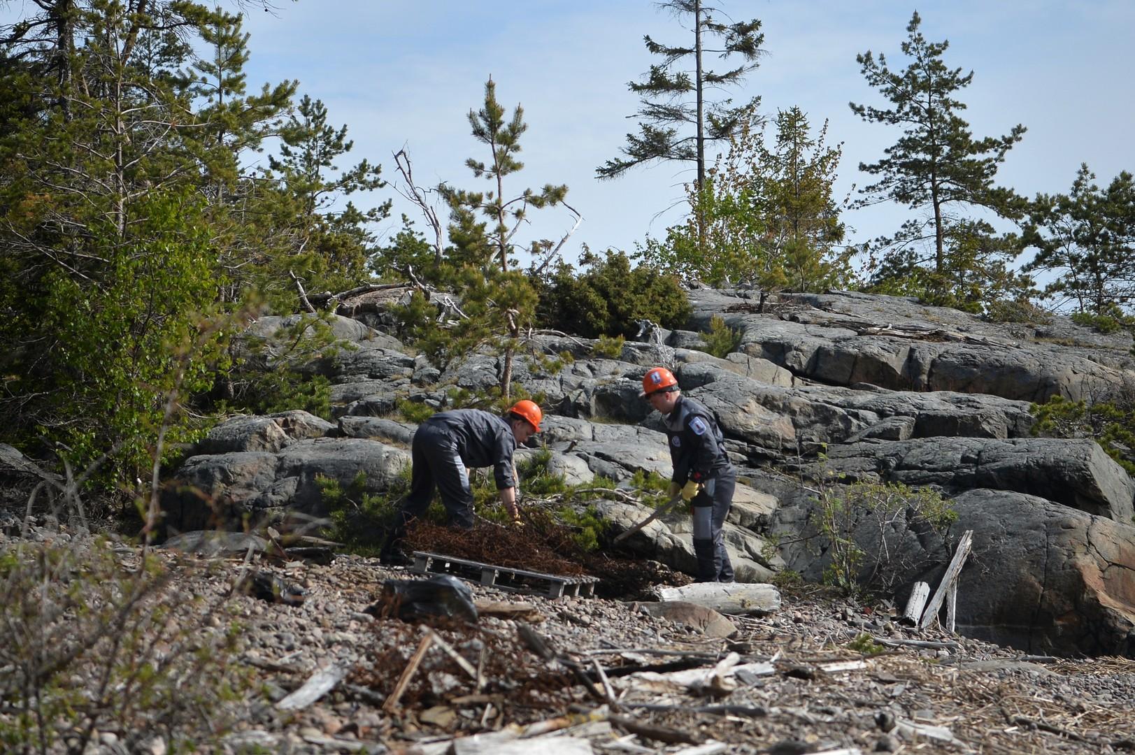 Участники экологической вахты ведут работы по очистке побережья от мусора во время комплексной экспедиции Русского географического общества «Гогланд» на острове Гогланд в Финском заливе