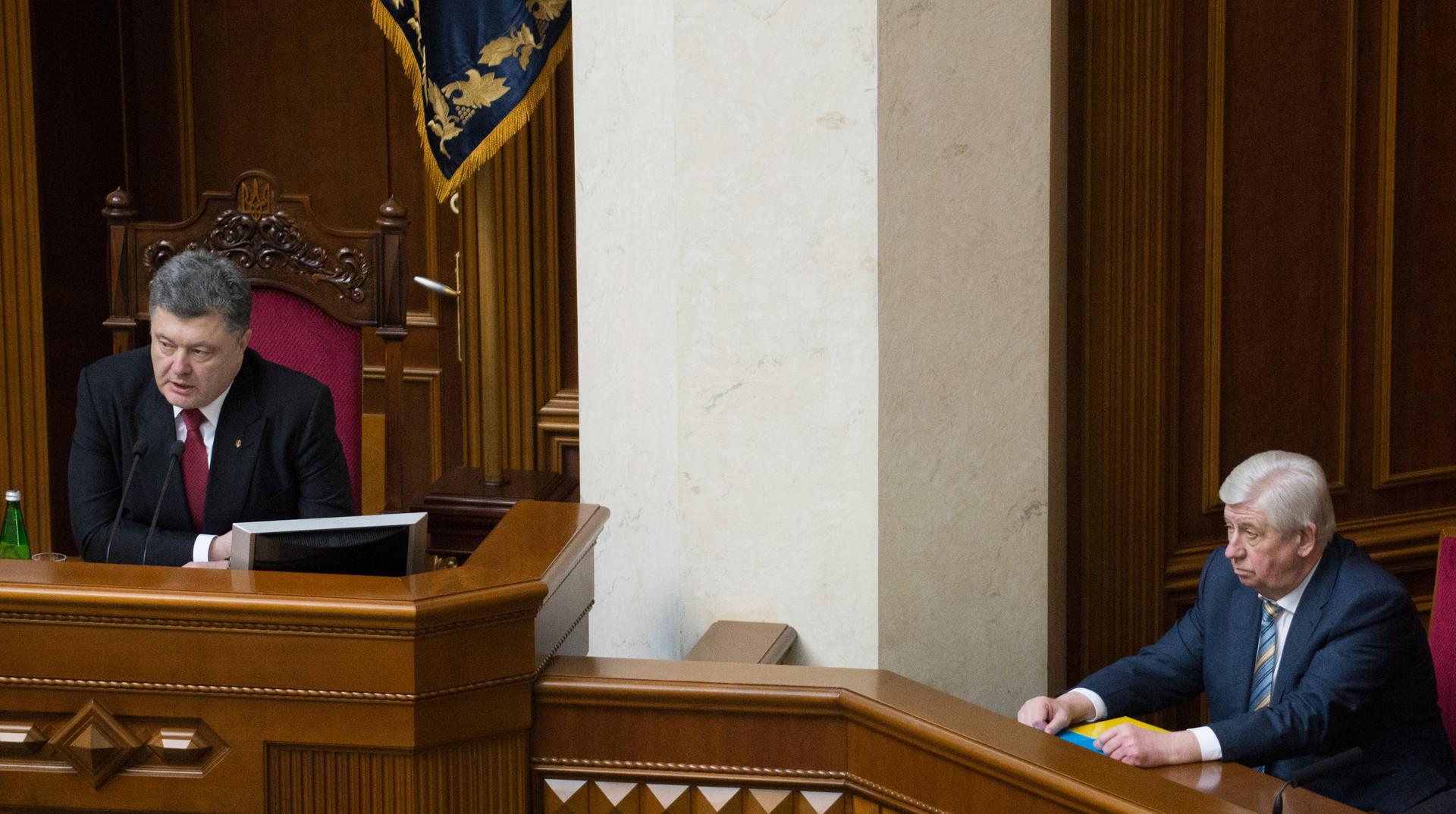 Президент Украины Пётр Порошенко и Виктор Шокин, 2015 год