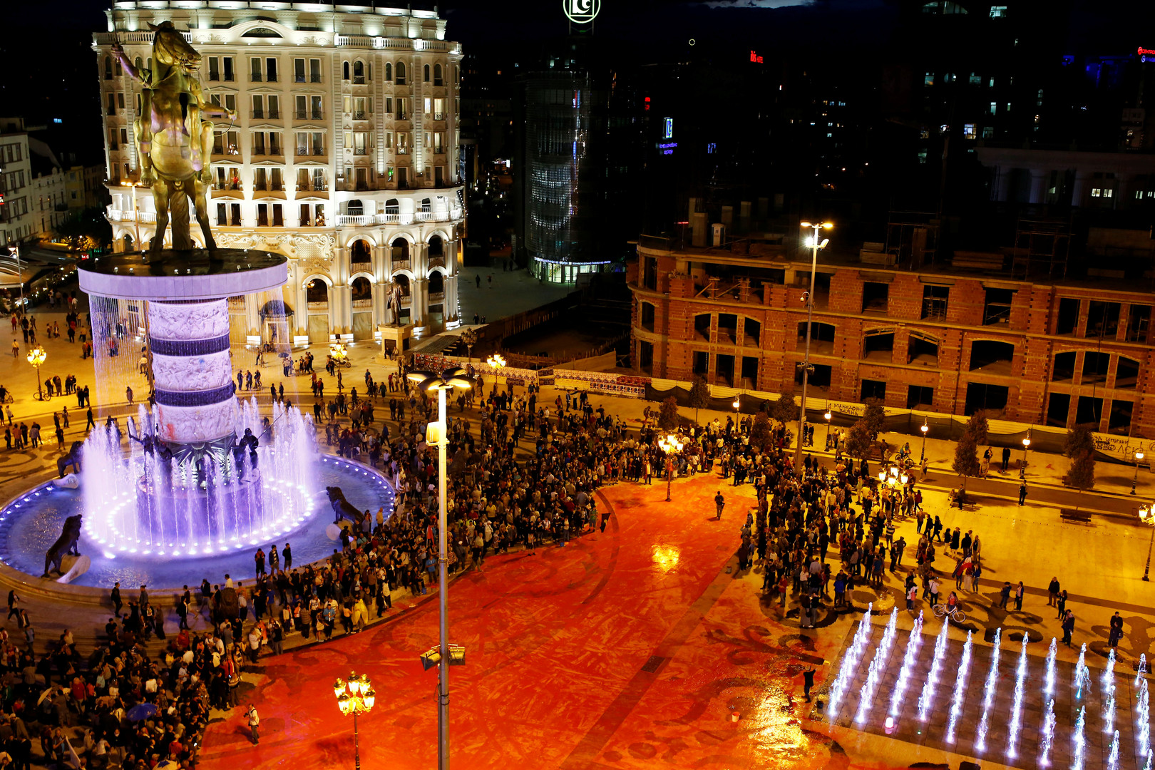 Антиправительственный протест в Скопье. Вид сверху.