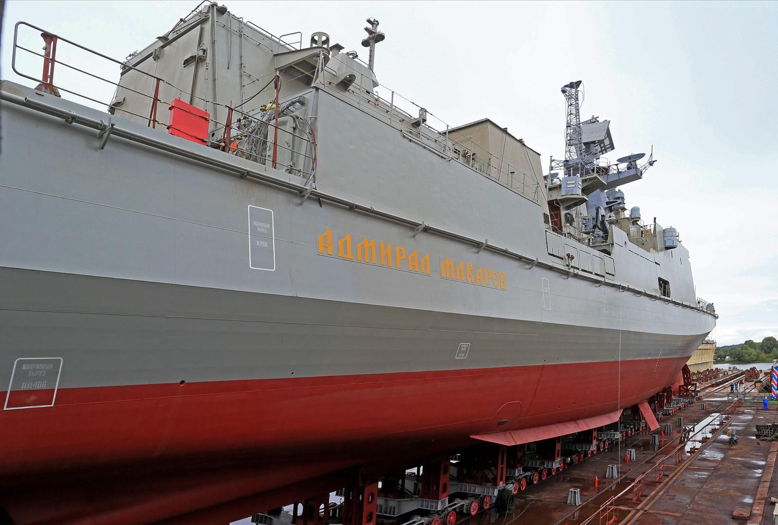 Торжественная церемония спуска на воду сторожевого корабля «Адмирал Макаров», построенного на балтийском судостроительном заводе «Янтарь» по заказу Министерства обороны России