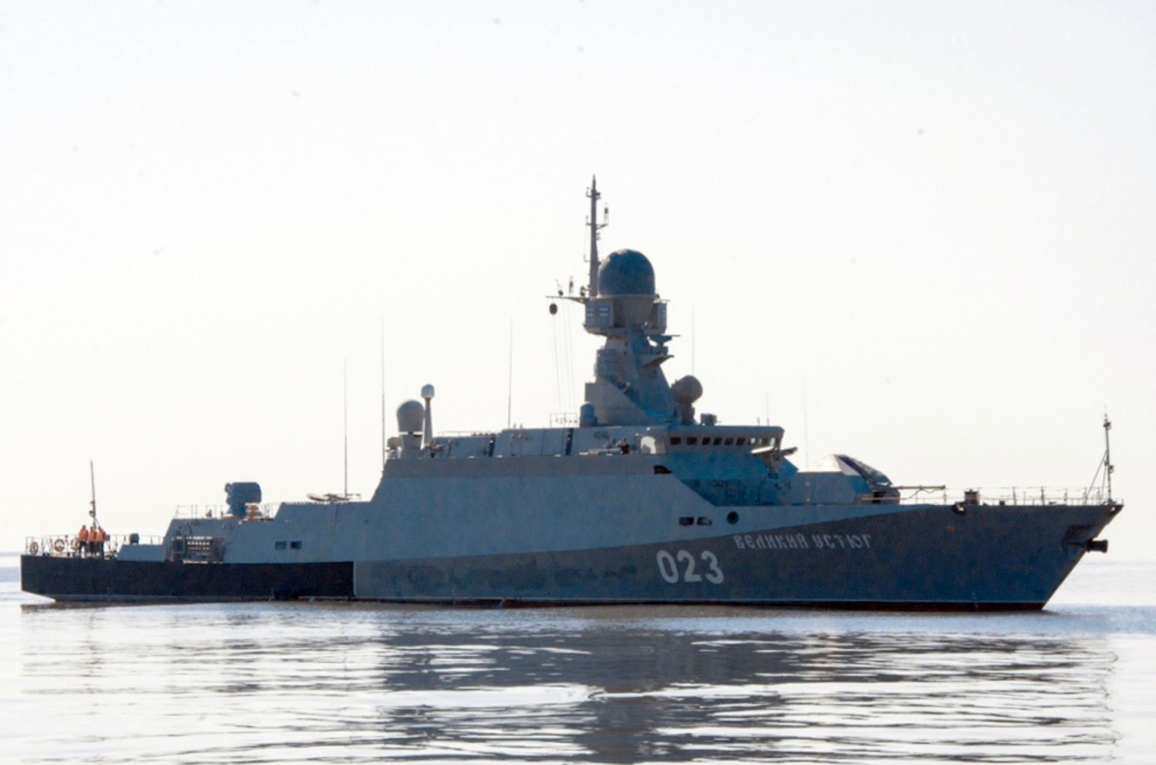 Малый ракетный корабль «Великий Устюг» во время учений «Центр-2015» в Каспийском море