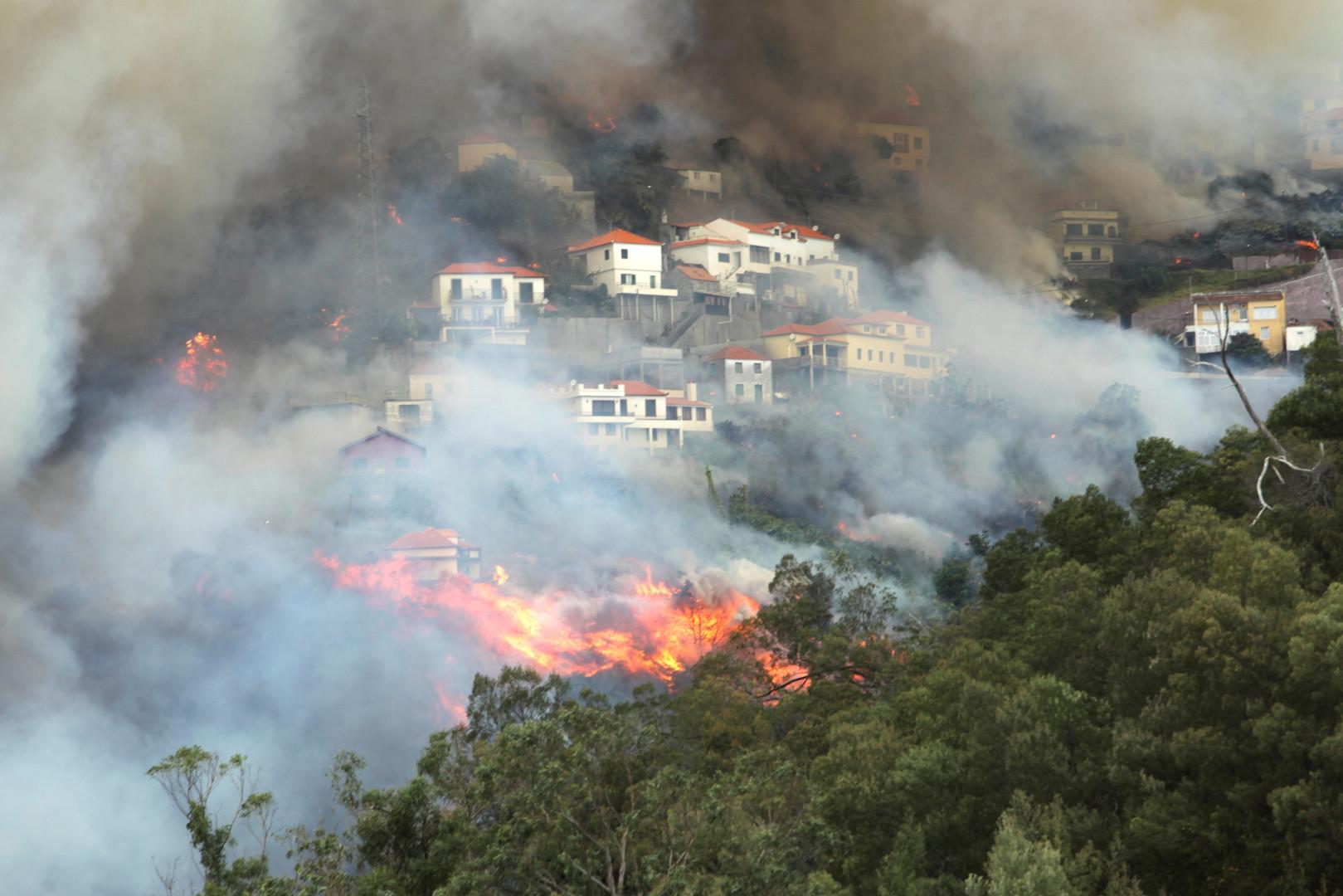Лесные пожары в окрестностях португальского города Фуншала