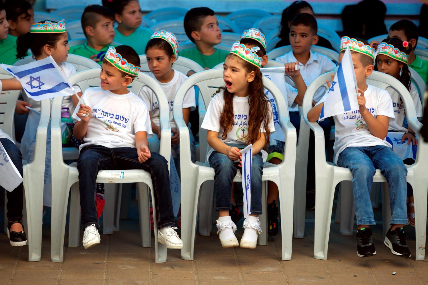 Ученики начальной школы города Тамра перед визитом премьер-министра Израиля Биньямина Нетаньяху