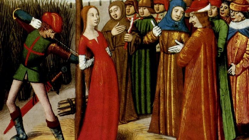 Казнь Жанны д' Арк.  Миниатюра из «Часослова короля Карла VII» Марциала Овернского. 1484 г.