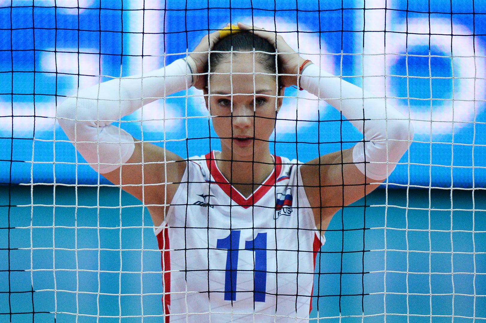 Россиянка Екатерина Гамова-Мукасей в матче Россия – Таиланд чемпионата мира по волейболу в Вероне