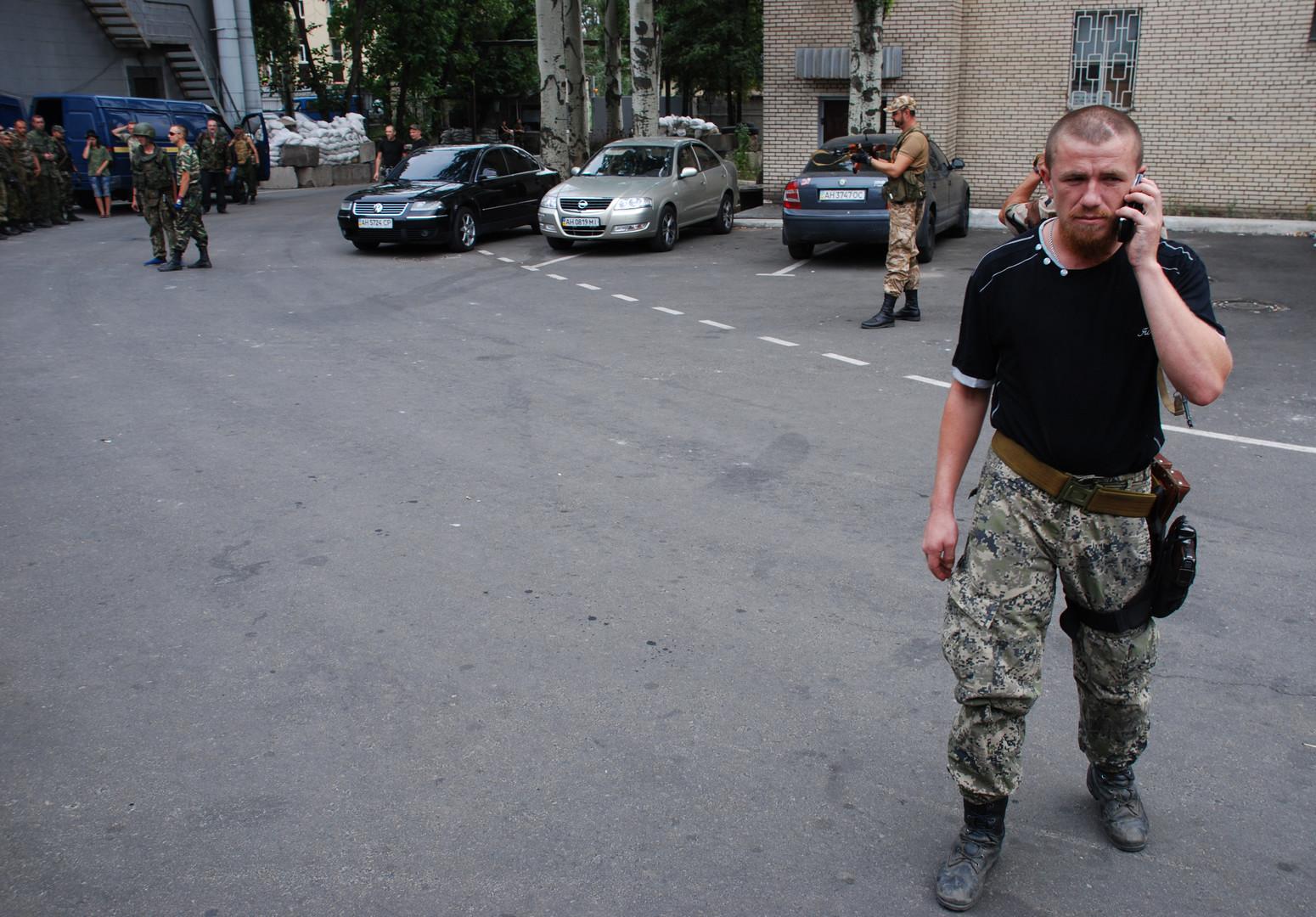 Боец народного ополчения ДНР Моторола в городе Иловайске Донецкой области.