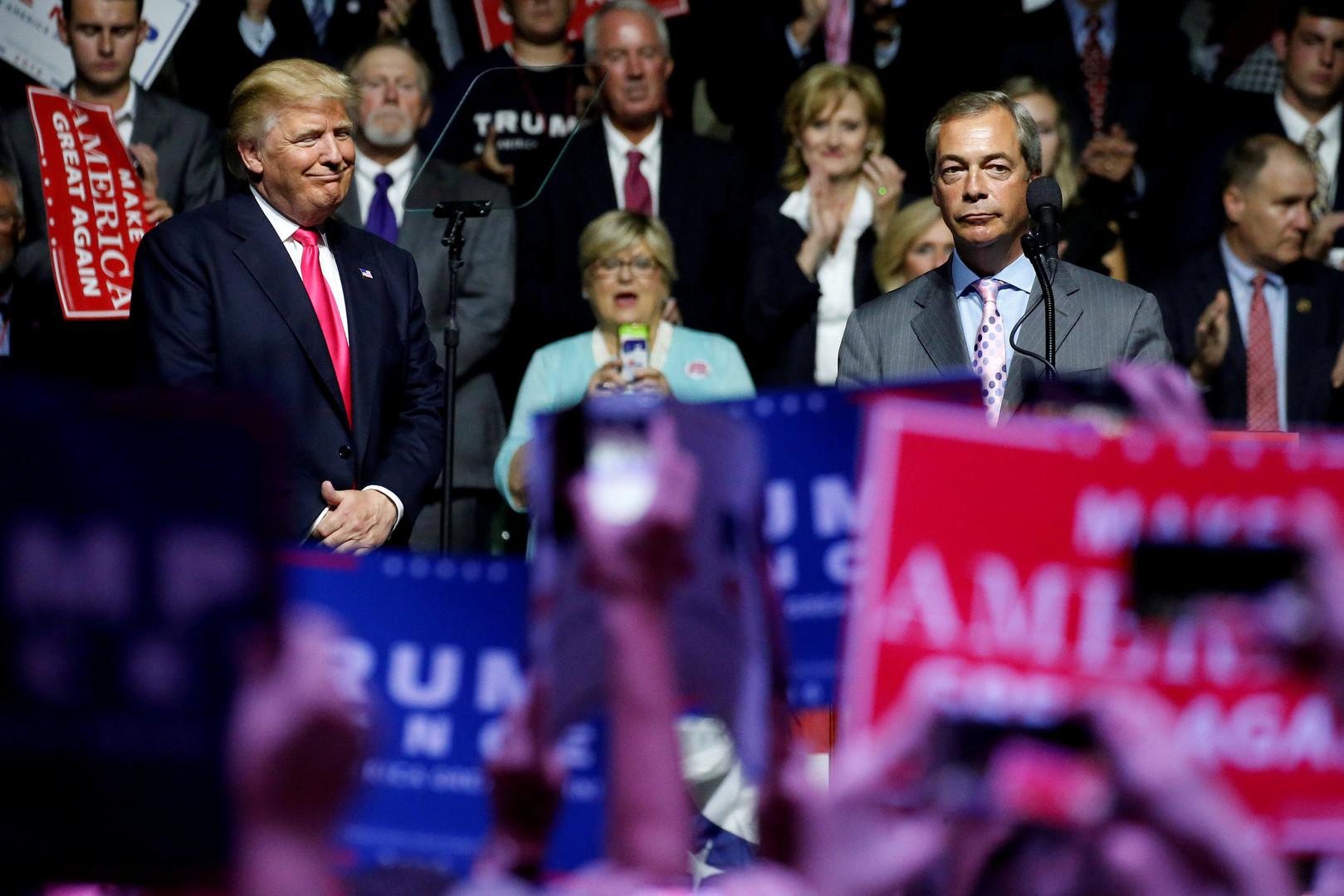 «Надеюсь, он построит большую красивую стену»: Фарадж рассказал RT о дружбе с Трампом