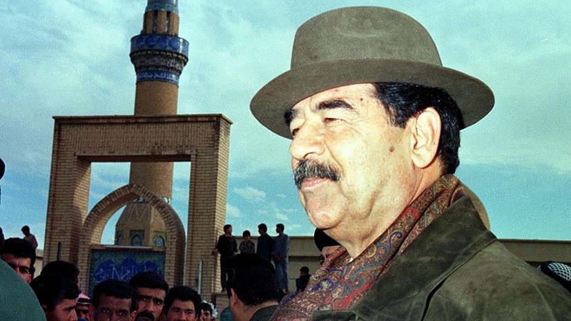 Хусейн во время визита в одну из деревень неподалёку от Багдада. В это время инспектор ООН обыскивал его дворец