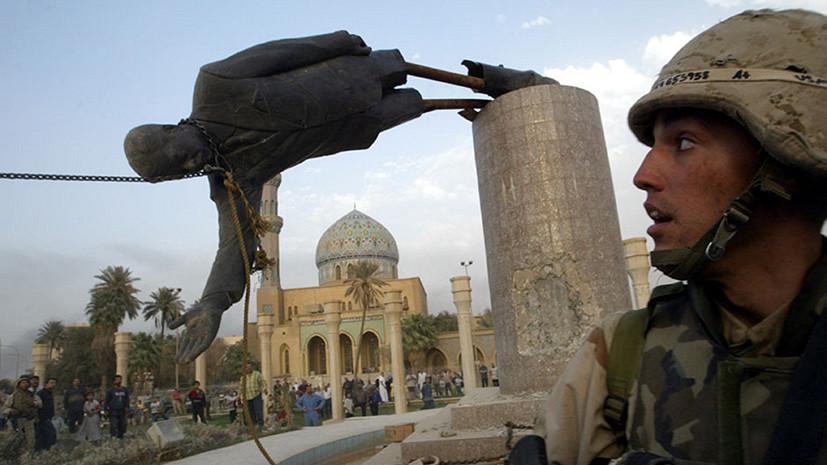 Демонтаж статуи Хусейна в Багдаде, 2003 год