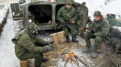 Военнослужащие ЛНР на своей позиции, 19 декабря 2016 года.