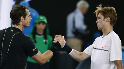 Российский теннисист Андрей Рублёв (справа) против британца Энди Маррея