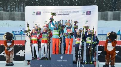 Победители и призёры смешанной эстафеты на чемпионате Европы по биатлону