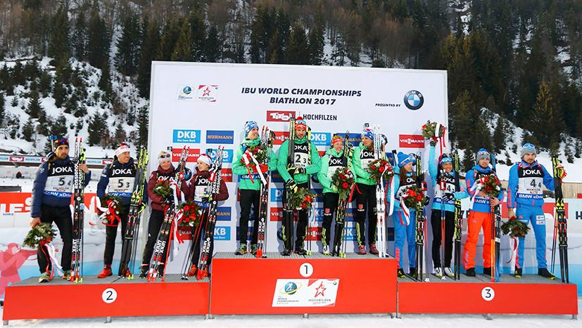 Сборная России завоевала бронзу в миксте на ЧМ по биатлону