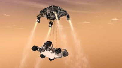 Посадка марсохода Mars 2020 в представлении художника