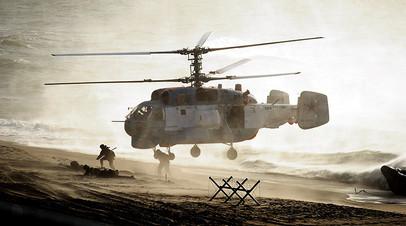Вертолет во время российско-белорусских учений