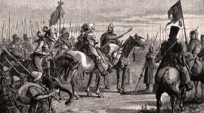 Князь Михаил Скопин-Шуйский встречает шведского воеводу Делагарди близ Новгорода (1609 г.)