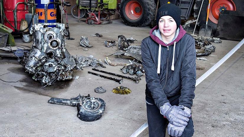 Опубликовано фото датского школьника и обломков найденного им истребителя