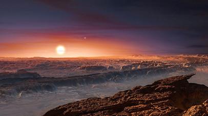 Вид с экзопланеты Проксима b в представлении художника