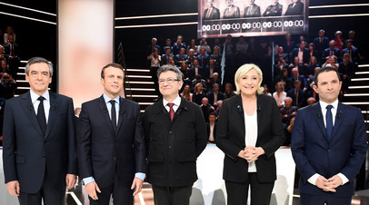 Франсуа Фийон, Эммануэль Макрон, Жан-Люк Меланшон, Марин Ле Пен и Бенуа Амон