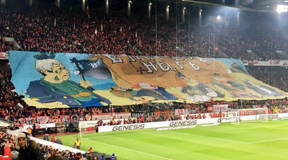 Баннер на матче 23-го тура РФПЛ «Спартак» — «Зенит»
