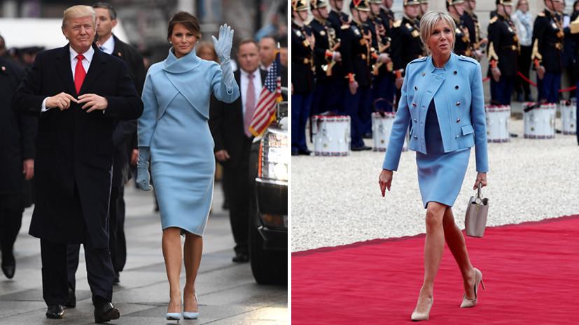 В соцсетях обратили внимание на схожесть нарядов супруг Трампа и Макрона на инаугурациях