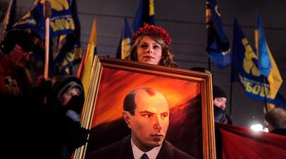 Шествие в Киеве с портретом Степана Бандеры