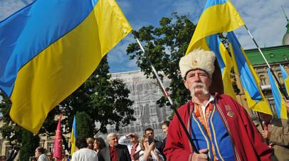 Горожане на праздновании Дня Независимости Украины во Львове