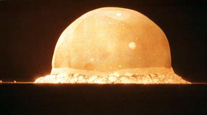 Взрыв «Штучки» через 0,016 секунды после детонации. Размер плазменного шара — около 200 м