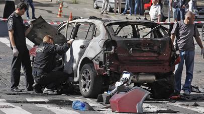 Место взрыва автомобиля Павла Шеремета