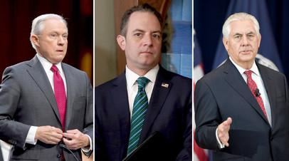 Генпрокурор США Сешнс, глава аппарата Белого дома Райнс Прибус и госсекретарь Тиллерсон