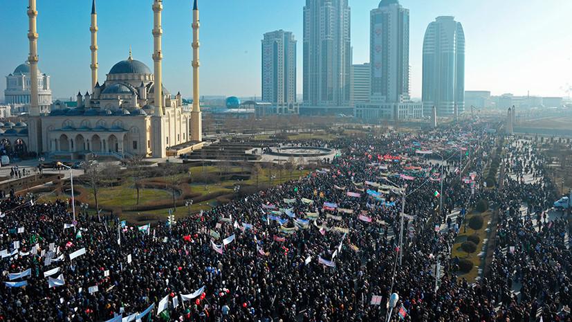 В Грозном проходит многотысячный митинг против преследования мусульман рохинджа