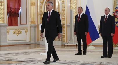 Владимир Путин и посол США Джон Мид Хантсман на церемонии вручения верительных грамот послов иностранных государств, 3 октября 2017 года
