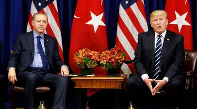 Реджеп  Эрдоган во время встречи с Дональдом Трампом