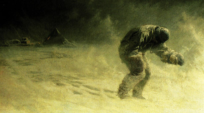 Гибель одного из участников экспедиции Скотта. Картина Джона Доллмана