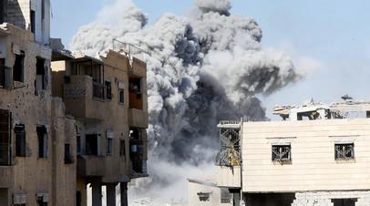 Последствия авиаудара коалиции США в Ракке