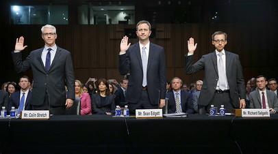 Слева направо: Колин Стретч (Facebook), Шон Эджетт (Twitter) и Ричард Салгадо (Google)