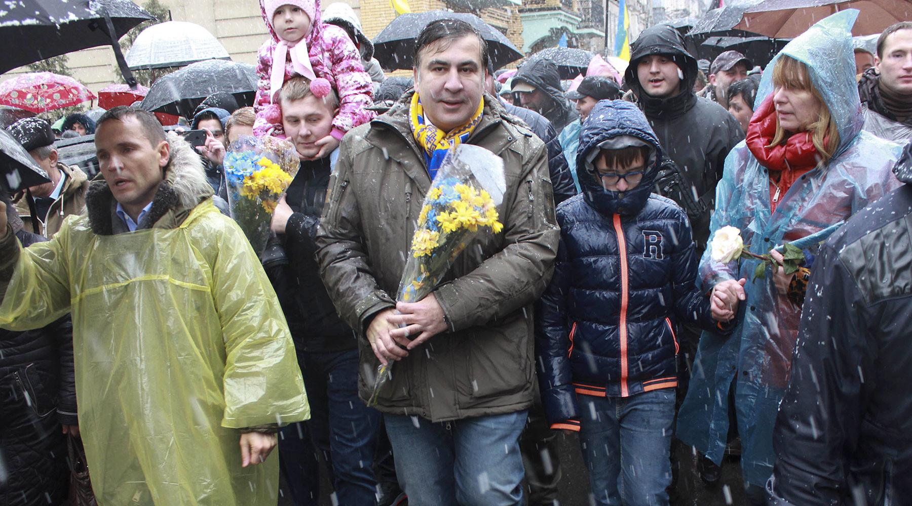 «Марш возмущённых»: в Киеве прошёл митинг сторонников Саакашвили