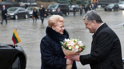 Президент Литвы Даля Грибаускайте во время визита в Киев в декабре 2016 года с украинским лидером Петром Порошенко.