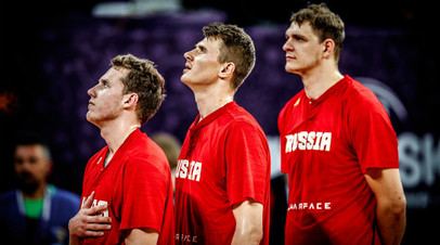 Баскетболисты сборной России Дмитрий Кулагин, Андрей Воронцевич и Тимофей Мозгов