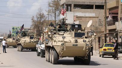 Бронетехника США в сирийском городе Эль-Камышлы
