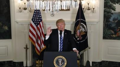 Дональд Трамп во время выступления в Белом доме