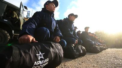 Призывники в Симферополе перед отправкой к месту службы