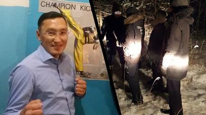 Справа — Иннокентий Макаров, слева — следственные действия по делу об убийстве спортсмена